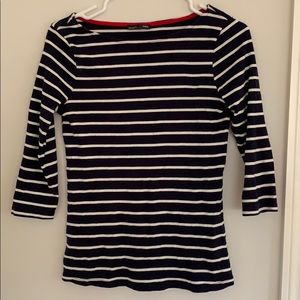 3/4 length sleeve navy and white striped zara top